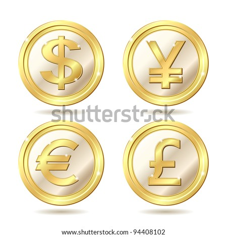 Set of golden coin with dollar, euro, pound sterling and yen signs.. Vector illustration isolated on white background