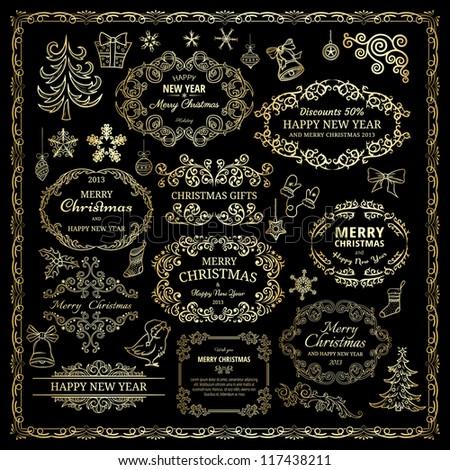 Set of golden design elements in retro style