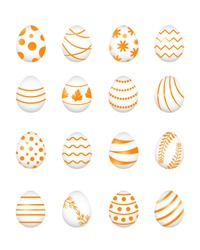 Set of golden Easter eggs and different patterns, vector illustration