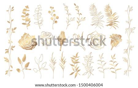 Set of golden floral elements. Flower and gold leaves. Wedding concept - flowers. Floral poster, invite. Vector arrangements for greeting card or invitation design