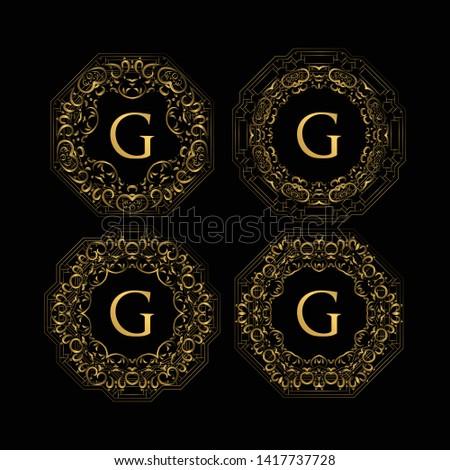Set Of Golden Frame Luxury. Frame Luxury with Golden Color, Ornament Concept, Luxurious Badges, Gold Label, Retro Concept. Trendy Vintage Royal Ornament Frames Illustration, Good for Hotel Brand.