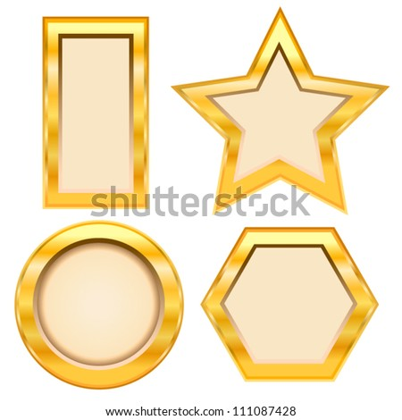 Set of golden frame on white background. Vector illustration