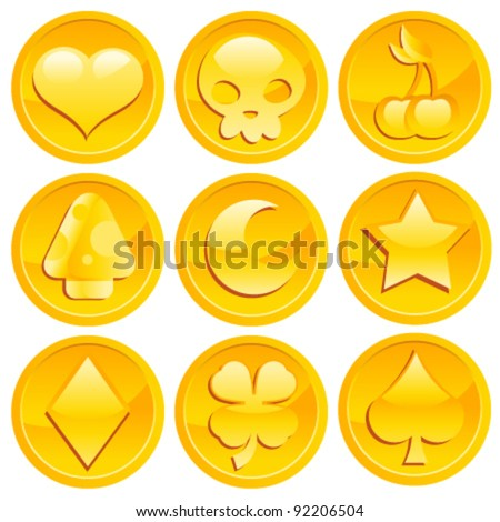 Set of Golden Game Coins