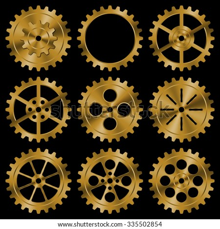 Stock Photo Set of golden gears on black background.
