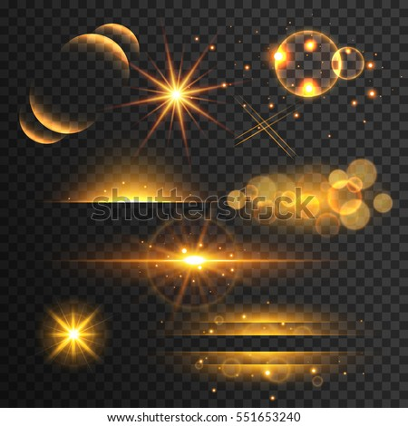 set of golden glitters lights and sparkles with lens effect on transparent background