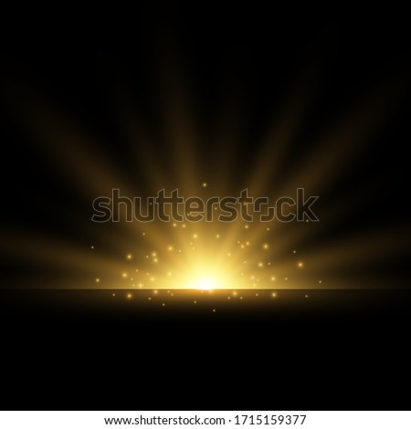 Set of Golden glowing lights effects isolated on transparent background. Flash of the sun with rays and searchlight. The glow effect. The star burst into brilliance. Сток-фото ©