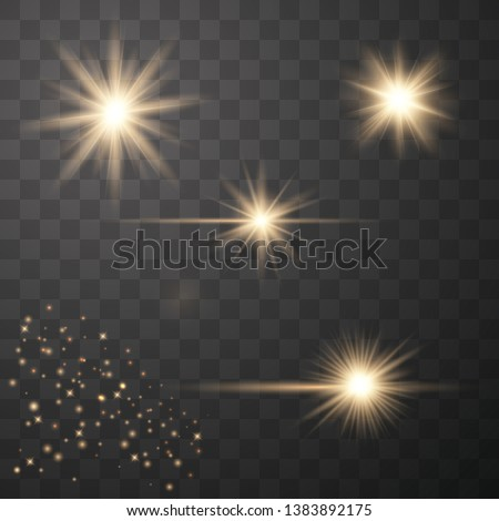 Set of golden glowing lights effects isolated on transparent background. Sun flash with rays and spotlight. Glow light effect. Star burst with sparkles. Vector illustration eps10.