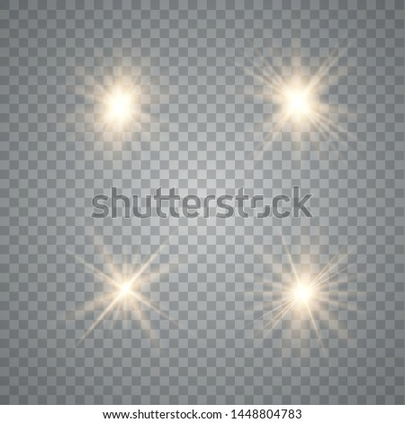 Set of golden glowing lights effects isolated on transparent background. Sun flash with rays and spotlight. Glow light effect.