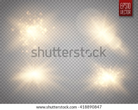 set of golden glowing lights