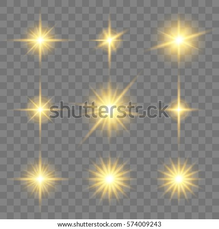 Set of golden glowing star. Vector light effects on the transparent background.