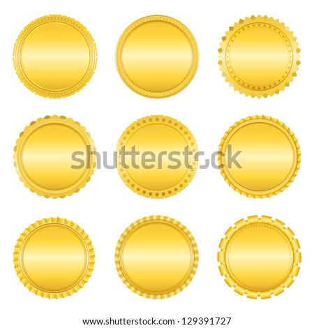 Set of golden labels on white background, vector eps10 illustration