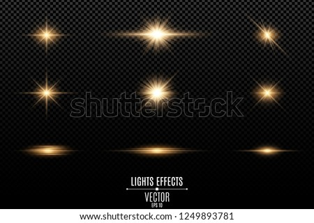 Set of golden light effects on a transparent background. Flashes and glares. Bright rays of light. Glowing lines. Vector illustration. EPS 10