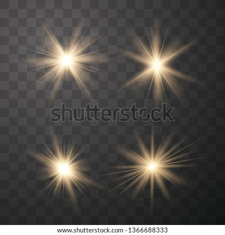 Set of golden light effects on a transparent background. Stars bursts with sparkles elements for any image.  Stars, light and radiance, rays and brightness.