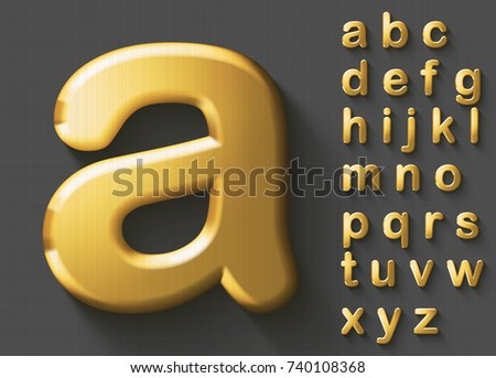Set of golden luxury 3D lowercase english letters. Golden metallic shiny bold alphabet on gray background. Good font for wealth and jewel concepts. Transparent shadow, EPS 10 vector illustration.