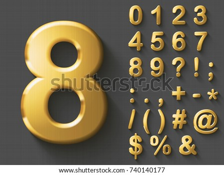 set of golden luxury 3d numbers ...