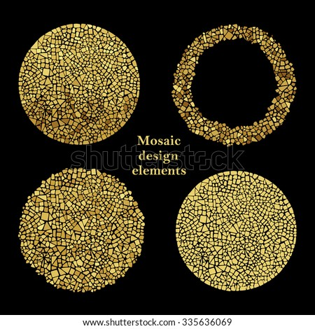Mosaic Tile As Interior Elements : Set of Golden Mosaic design elements in circle forms. Abstract ...
