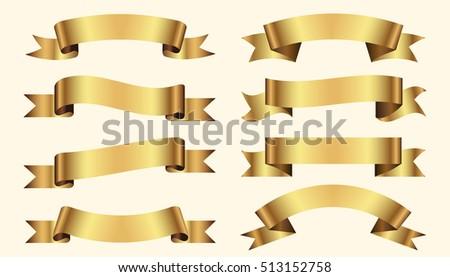Set of golden ribbons on beige background. vector illustration.
