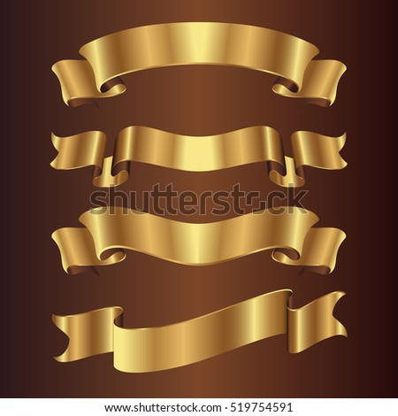 set of golden ribbons on brown