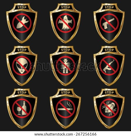 set of golden shields with