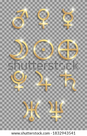 Set of golden shiny planets signs for astrology or horoscopes. stock photo