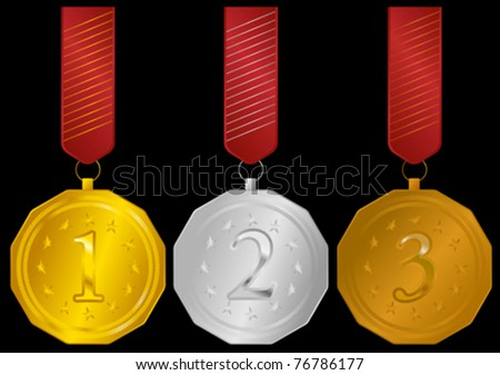 Set of Golden, Silver and Bronze Medals with Ribbons