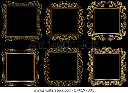 set of golden square frames