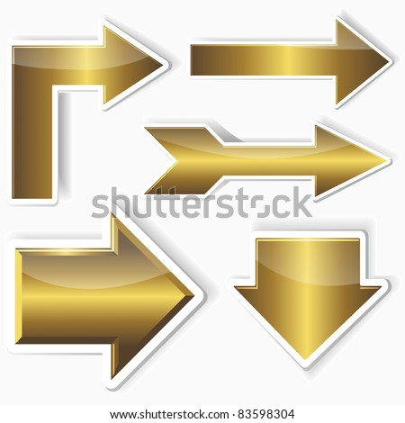 Set of golden stickers from arrows. 10EPS. vector.