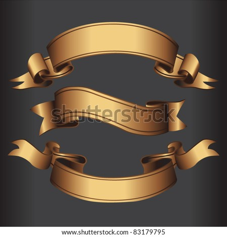 Set of golden vector isolated ribbons