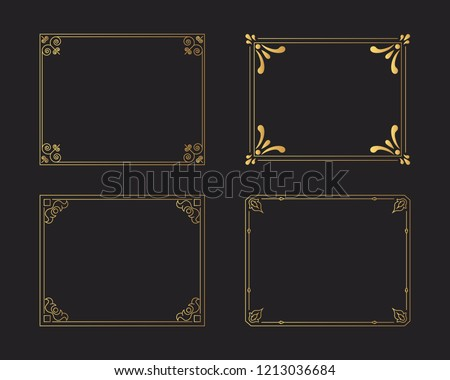 Set of golden vintage borders. Gold rectangular hand drawn swirl frames. Vector isolated flourish design elements.  #1213036684