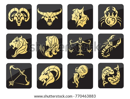 Set of golden Zodiac signs on a dark background. Square icons. Vector illustration.