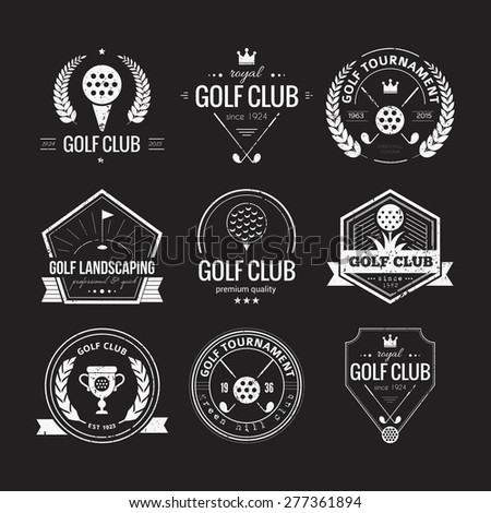 Set Of Golf Club Logo Templates. Hipster Sport Labels With ...
