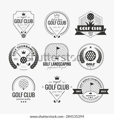 set of golf club logo templates