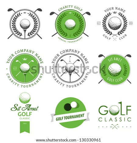 Set of golf club logos labels and emblems