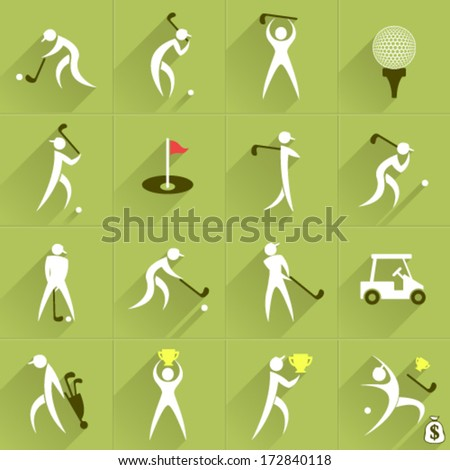 Set of golf club vector logos and sport people positions and communication web Icons
