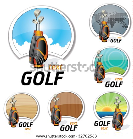 set of golf signs - stock vector