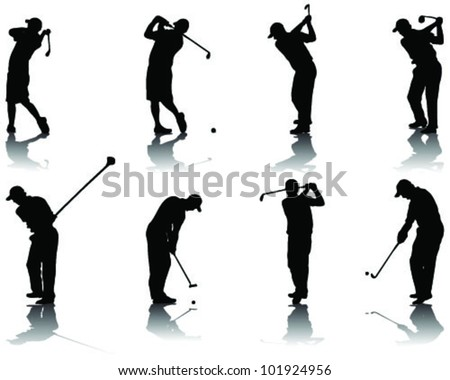 Set of golf silhouettes-vector
