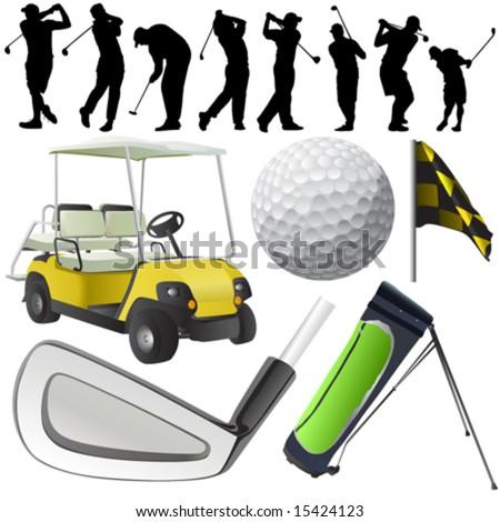 set of golf vector - stock vector