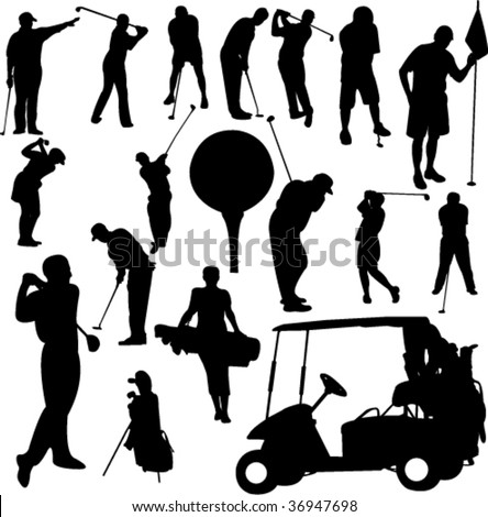set of golf 1 - vector