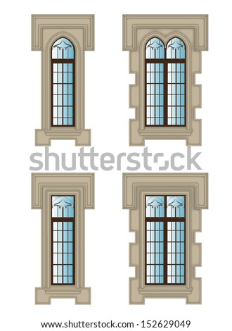 set of gothic windows with