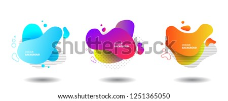 Set of Gradient abstract banners with flowing liquid shapes. Template for the design of a logo, flyer or presentation. Vector. #1251365050