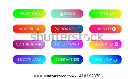 Set of Gradient action button modern material style on white background. Various gradient colors.   #1418162870
