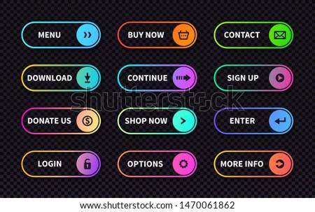 Set of gradient action buttons. Flat web submit form, modern transition sign, game navigation ui design element. Vector illustration different light rectangular call banner actions on transparent