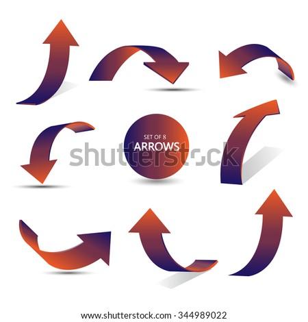 Set of gradient arrows stickers #344989022