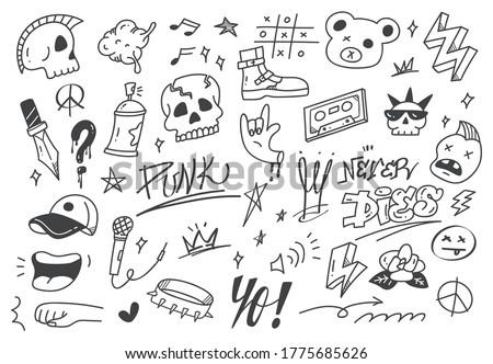 Set of graffiti doodle, punk music hand drawn scribble  Zdjęcia stock ©