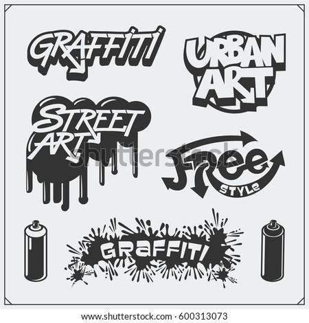 set of graffiti school and