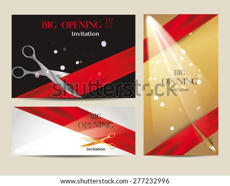 Grand Opening Ribbon Cutting Vector Download Free Vector Art – Grand Opening Invitation Cards