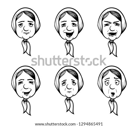 Set of grannies heads in cartoon style. Granny with different emotions. Coloring book for kids. Vector illustration.