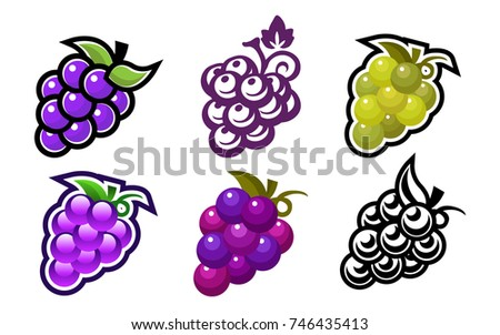 set of grape fruit icons