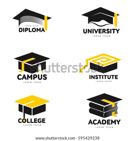 Set of graphic, black and white square academic, graduation cap logo templates, vector illustration isolated on white background.