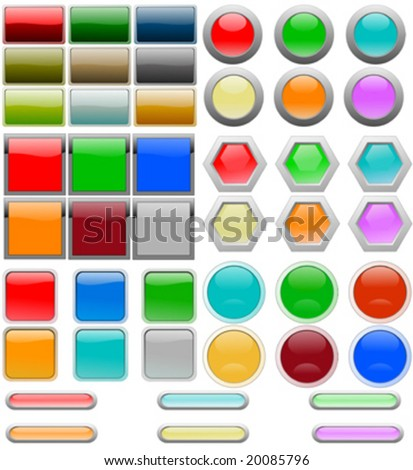 Set of graphic buttons and parts with reflection